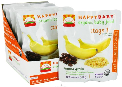 Happybaby Organic Baby Food Stage 3 Meals Ages 7+ Months Mama Grain - 4 Oz, 8 Pack