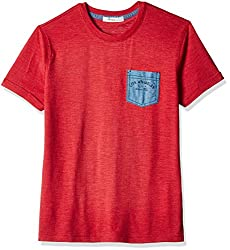 Fox Boys' T-Shirt  (Red Melange_10 years_337411)