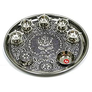 Oxidized Stainless Steel Puja Thali with 5 Lamps and 1 Bowl for Arati