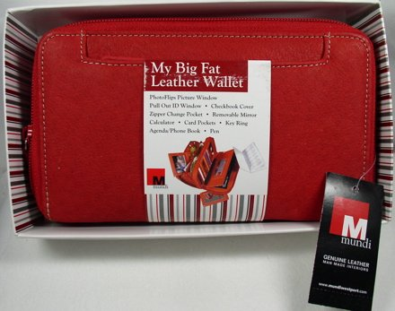 Mundi Leather Big Fat Wallet ~ Red