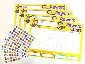 4 x Childrens Reward Charts and 250 Stickers for Rewarding Kids Good Behaviour