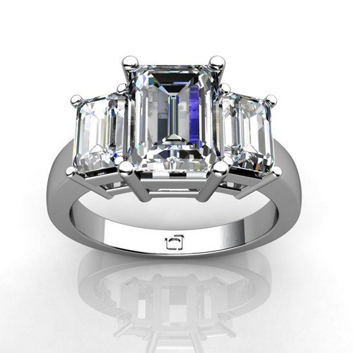 Platinum This Past Present And Future Ring For Emerald Cut Diamonds Uses Basket Style Settings To Showcase The Diamond'S Brilliance 1 1/4 Ctw