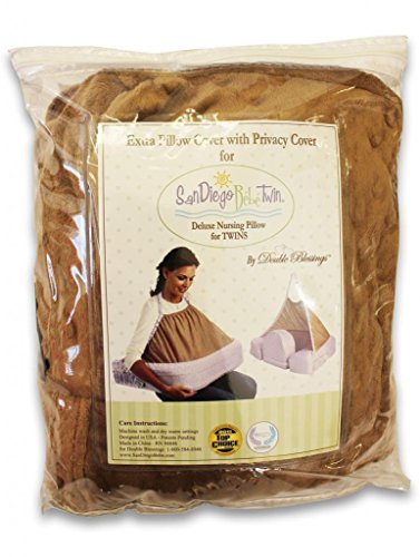 Extra Cover for San Diego Bebe TWIN Eco Nursing Pillow, Mocha - 1
