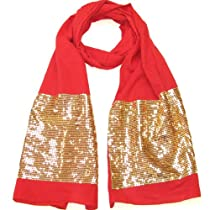 Luxurious Red Sequin Scarf - Cotton Party Fashion Scarves for Women and Girls