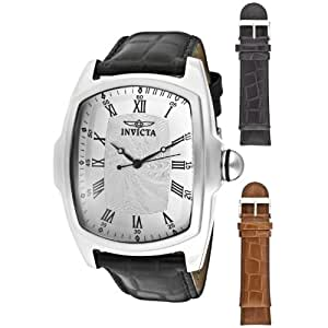 Invicta Men's 12849 Lupah Silver Dial Leather Watch Set with Interchangeable Straps