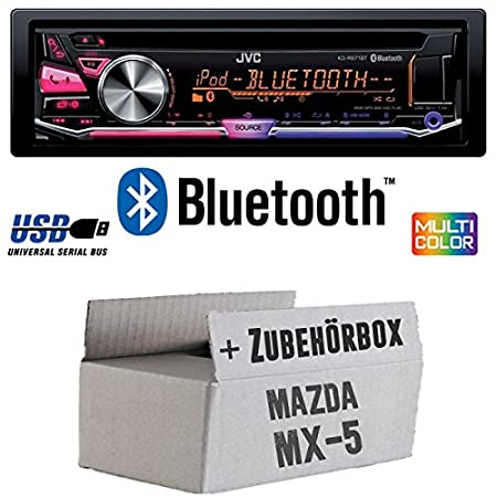 Mazda MX-5 MX5 - JVC KD-R971BT - Bluetooth CD/MP3/USB MultiColor Autoradio - Einbauset