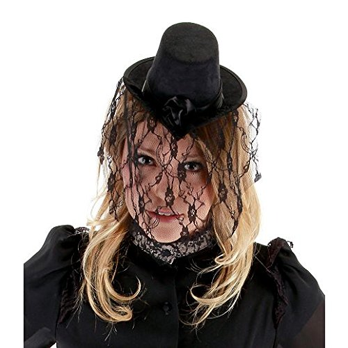 Fancy Party Halloween Mini Veiled Victorian Top Hat (Victorian Face Masks)