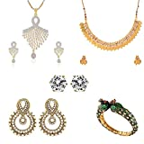 Zeneme Combo of Temple Coin Necklace, Pendant, Earrings & Elegant Peacock Design Kada Jewellery for Women / Girls