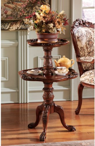 Victorian Antique Replica Hand-carved Mahogany Tiered Tea Table/ Indoor Plant Stand