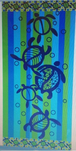 Egyptian Bedding Egyptian Cotton Jacquard Oversized Beach Towel, Tropical Turtle