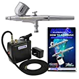 Master Airbrush® Brand Model VC16-B22 Airbrushing System with MAS KIT-VC16 Black Portable Mini Airbrush Air Compressor-The Complete Set Now Includes a (FREE) How to Airbrush Training Book to Get You Started