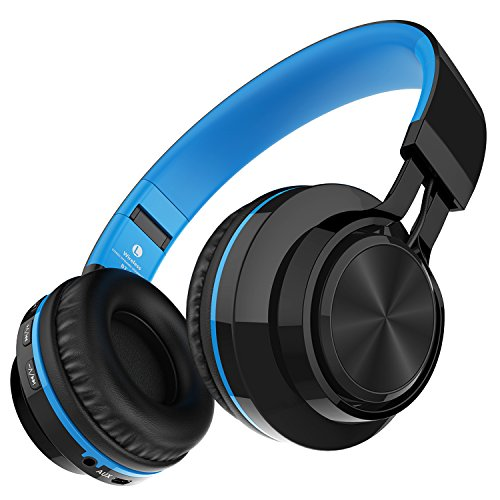 Darkiron Cuffie Bluetooth microfono incorporato auricolare senza fili con la carta di TF radio FM e cavo audio aggiuntivo per i telefoni cellulari, iPhone, computer portatile, TV, Bluetooth 4.0 Dispositivi (Blu)