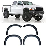 VioGi 4pcs Textured Black Paintable ABS Plastic Pocket-Riveted Bolt-On Fender Flares With Mounting Hardware & Instruction For 09-10 Dodge Ram 1500 11-15 Ram 1500