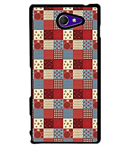 Printvisa Multicoloured Cheq Patterns Back Case Cover for Sony Xperia M2 Dual D2302::Sony Xperia M2