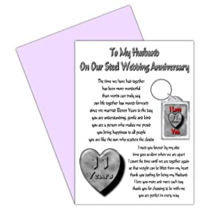 11th Wedding Anniversary Gift Ideas Uk : Husband 11th Wedding Anniversary Card With Removable Keyring Gift - 11 ...