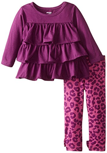 Gerber Graduates Baby Girls' Cha Cha Long Sleeve Top and Printed Legging Set, Purple Charcoal Charcoal, 12 Months