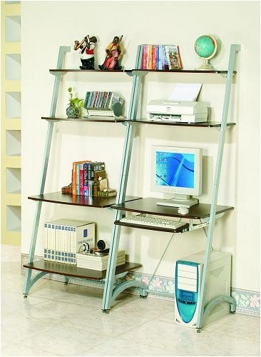 Buy Low Price Comfortable Modern Style Silver Finish Metal & Wood Bookshelf & Computer Desk (B000V04D84)