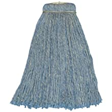 Zephyr Blue Blendup Blended Natural and Synthetic Fibers Screwflat Cut End Mop Head (Pack of 12)