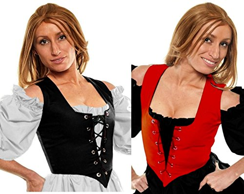Renaissance Halloween Costume Caribbean Pirate Peasant Wench Corset Red/Black