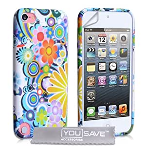 iPod Touch 5G Case Silicone Floral Rainbow Gel Cover