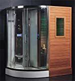 LineaAqua Belize 71 x 48 x 87 Combination Finnish Sauna & Steam Shower Enclosure with Rain Shower, Chromatherapy Lighting, 4 Body Sprays, Sauna Stove, FM Radio