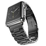 Oittm 時計用バンド・ベルト(WATCH BAND)Apple Watch用 42mmバックル付 高品質ステンレス製 交換バンド (ブラック)