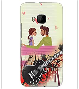 PrintDhaba Couple with Guitar D-4100 Back Case Cover for HTC ONE M9 (Multi-Coloured)