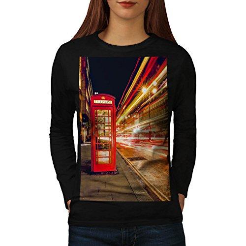 Rosso Telefono Scatola Londra Da donna Nuovo Nero L T-Shirt Manica Lunga | Wellcoda