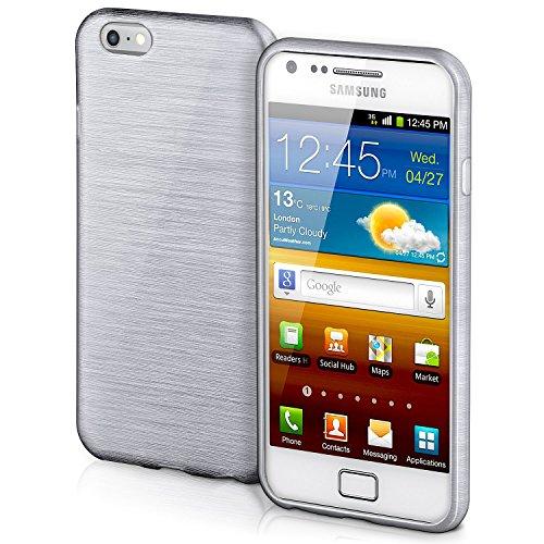 Cover di protezione Samsung Galaxy S2 / S2 Plus Hülle Custodia Case silicone sottile 1,5mm TPU | Accessori Cover cellulare protezione | Custodia cellulare Paraurti Cover Spazzolata Look PLATIN-SILVER