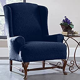 Brylanehome Brylanestudio Stretch Brocade Wing Chair Slipcover (Sapphire,0)