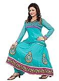 Blue Color GEORGETTE Embroidered ANARKALI Salwar Suit Unstitched Dress Materials