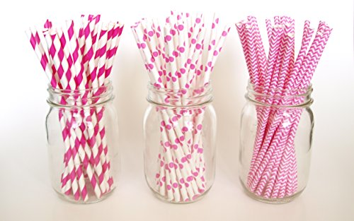 Paper Drinking Straws, Pink And White Party Straws, Pretty Straws, Stir Stick, 75 Pack - Fuchsia, Striped, Polka Dot & Chevron back-1059154