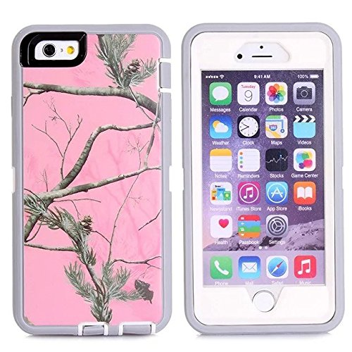 For Iphone 6s Plus Case - FiversTM Heavy Duty 3 in 1 Three Advantages Waterproof Dustproof Shakeproof with Forest Camouflage Desig Cell Phone Cases for Iphone 6s Plus 55 inch Tree- Pink