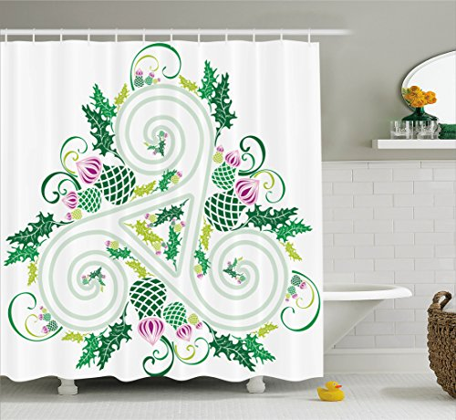 Celtic Decor Shower Curtain Set By Ambesonne, Three Legged Macro Single Celtic Form With Curved Lines Extending From The Centre Print, Bathroom Accessories, 69W X 70L Inches, Green Pink