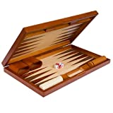 Backgammon Board Game Set Inlaid Wood Case 19''