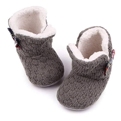 MiYuebb Toddler Boy/Girls Snow Boot Fleece Woollen Fur Knitted Baby Boots Warm Baby Booties (6-12 Months, Grey)