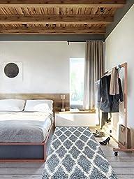 Sweet Home Stores Cozy Shag Collection Moroccan Trellis Design Shag Rug Contemporary Living & Bedroom Soft Shaggy Area Rug, 31\