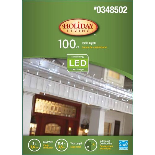Holiday Living 100-Count Led Dome White Christmas Icicle String Lights - White Wire