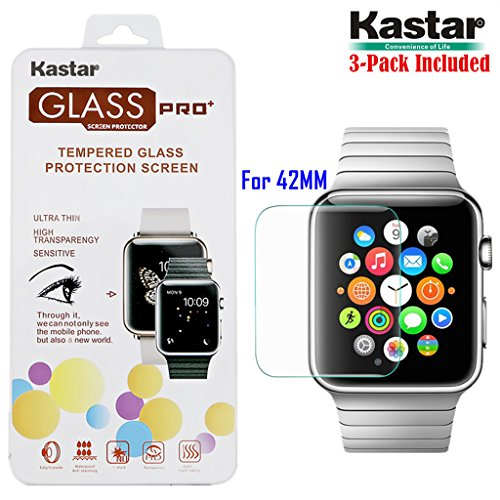kastar-iwatch-42mm-screen-protector-3-pack-premium-tempered-crystal-clear-glass-screen-protector-for