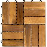 STILISTA® 11er Set 1m² Holzfliese Akazie 30x30x2,4cm, TFT zertifiziert, geölt, verzinkte Schrauben, Stecksystem