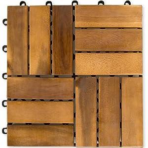 Dalles de terrasse en bois d'acacia 30 x 30 x 2,4 cm