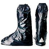 【ノーブランド品】 靴を履いたまま履ける!! レインブーツ 靴 ブーツ シューズ防水 バイク雨具 コンパクトで携帯に便利!レインブーツカバー【ブラック Lサイズ】