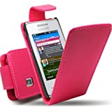 MOD SAMSUNG GT-S5260 TOCCO ICON FLIP PU LEATHER CASE COVER POUCH PINK + 2x FREE SCREEN PROTECTOR