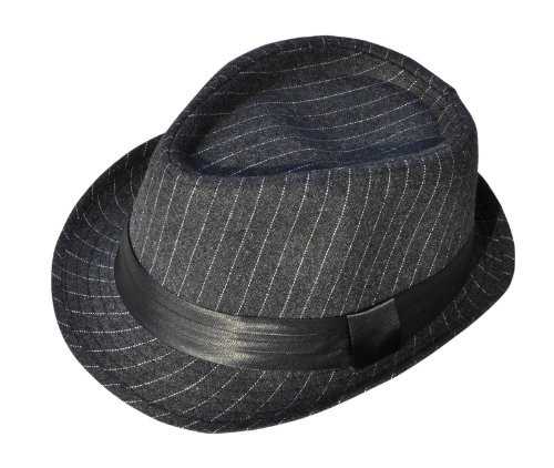 Simplicity® Unisex Structured Gangster Trilby Wool Fedora Hat, 3075_Charcoal Gy