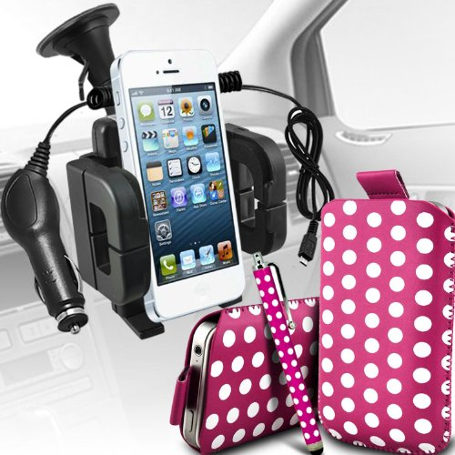 =>  Samsung Galaxy Express 2 Premium Protective Polka PU Leather Pull Tab Cord Slip In Pouch Pocket Skin Cover Quick With Large Matching Stylus Pen, Micro 12v USB car charger & Universal Suction Vent Windscreen Car Holder Cradle Hot Pink & White by Spyrox