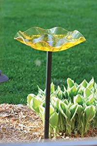 Birds Choice Pole Mounted Acrylic Bird Bath, Yellow