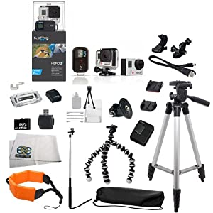 GoPro HERO3+ Black Edition Camera Kit   CHDHX-302   Includes: Monopod, Full Size Tripod, Gripster Tripod, 32GB Micro SD Card, Card Reader, Replacement Battery, Floating Strap, Case & More