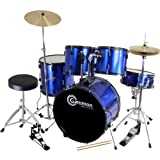 New Drum Set Full Size Adult 5-piece Complete Metallic Blue with Cymbals Stands Stool Sticks