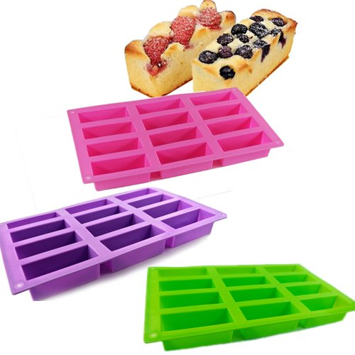 New 12 Cell Pink Purple Green Silicone Mould Sponge Finger Cake Bar Bakeware Mold Baking Tray front-226004