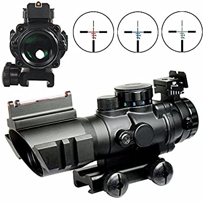 X-Aegis 4x32 Fixed Power Green/blue/red Illuminated Reticle Compact Rifle Scope with Fiber Optic Sight and Weaver Slots from X-Aegis